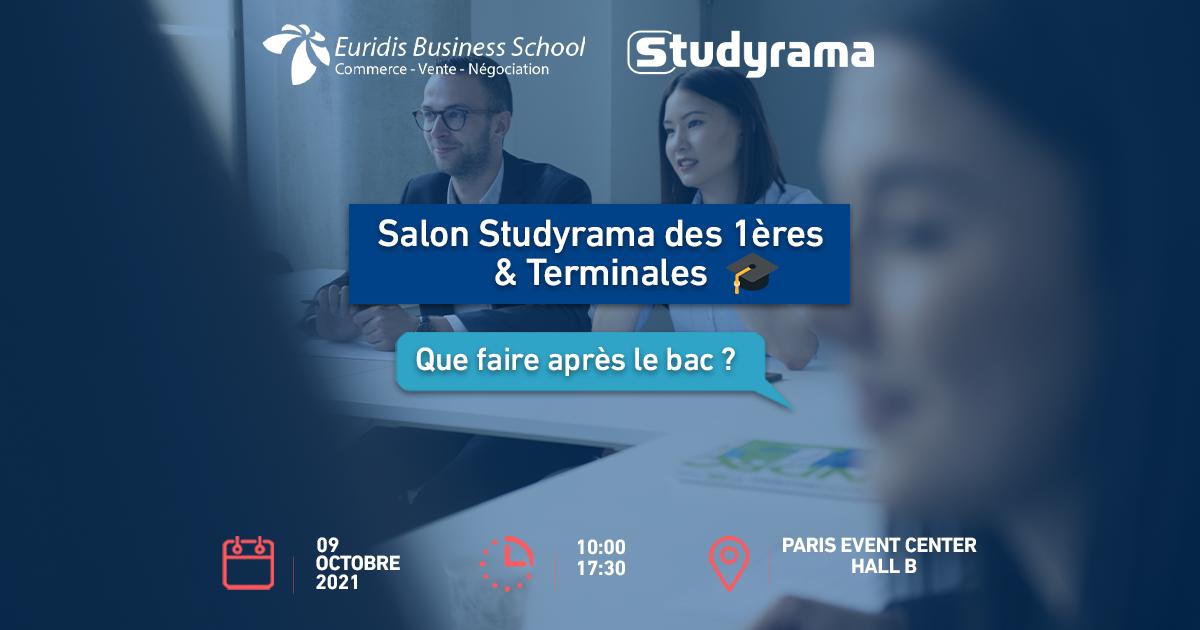 SAVE THE DATE : Euridis Business School participe au salon organisé par Studyrama ce samedi